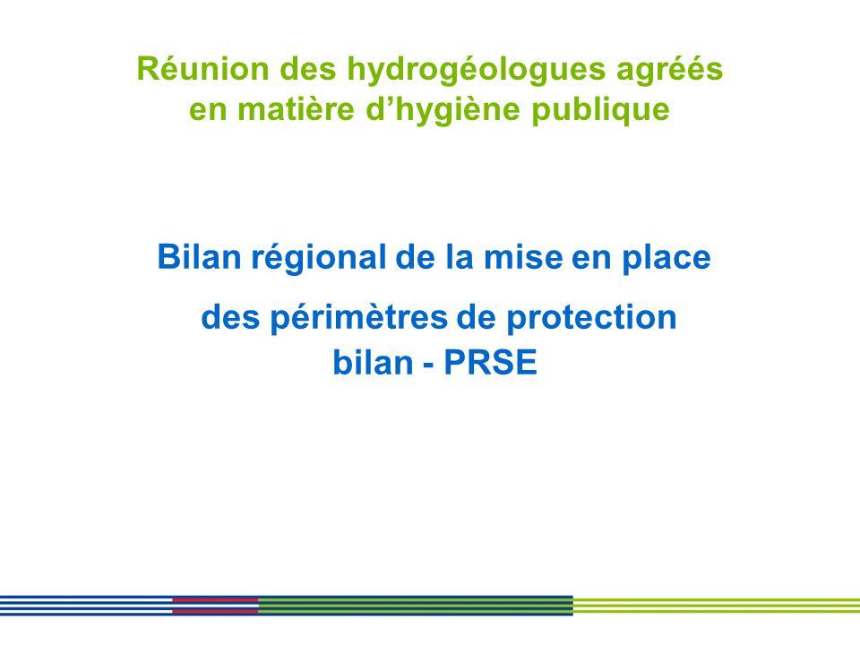 Réunion des hydrogéologues agréés en matière dhygiène publique Bilan régional de la mise en place des périmètres de protection bilan - PRSE