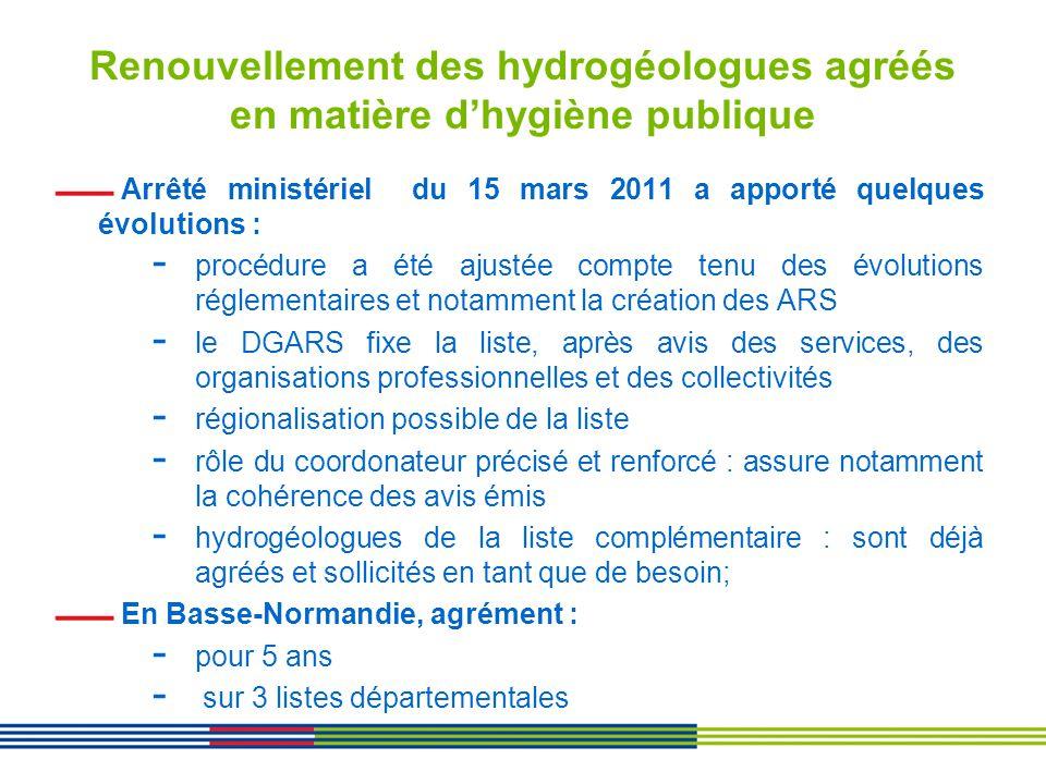Renouvellement des hydrogéologues agréés en matière dhygiène publique Arrêté ministériel du 15 mars 2011 a apporté quelques évolutions : - procédure a