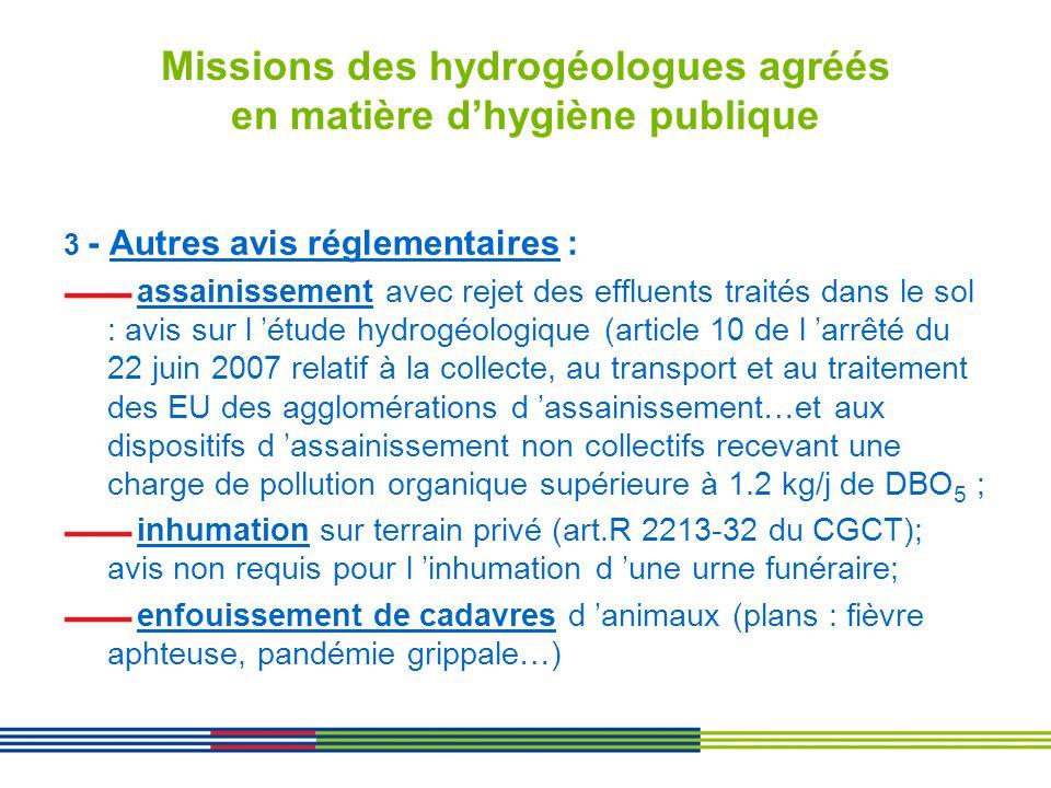 Missions des hydrogéologues agréés en matière dhygiène publique 3 - Autres avis réglementaires : assainissement avec rejet des effluents traités dans