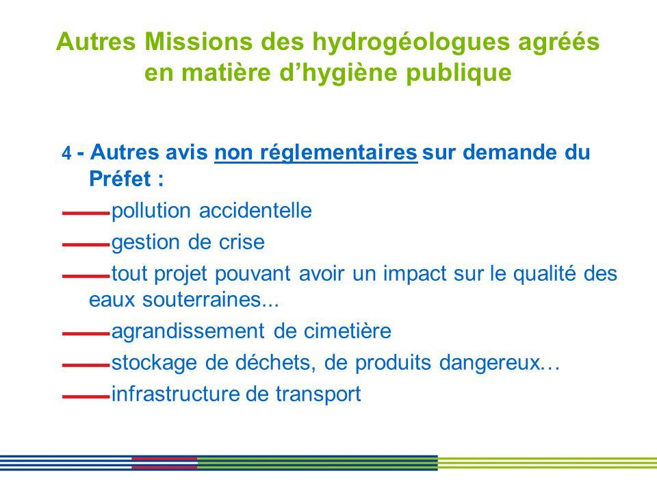 Autres Missions des hydrogéologues agréés en matière dhygiène publique 4 - Autres avis non réglementaires sur demande du Préfet : pollution accidentel