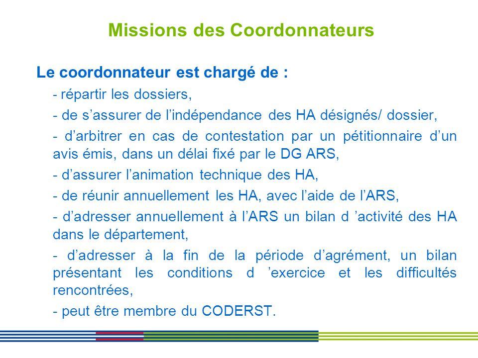 Missions des Coordonnateurs Le coordonnateur est chargé de : - répartir les dossiers, - de sassurer de lindépendance des HA désignés/ dossier, - darbi