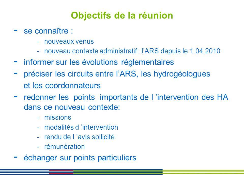Objectifs de la réunion - se connaître : -nouveaux venus -nouveau contexte administratif : lARS depuis le 1.04.2010 - informer sur les évolutions régl