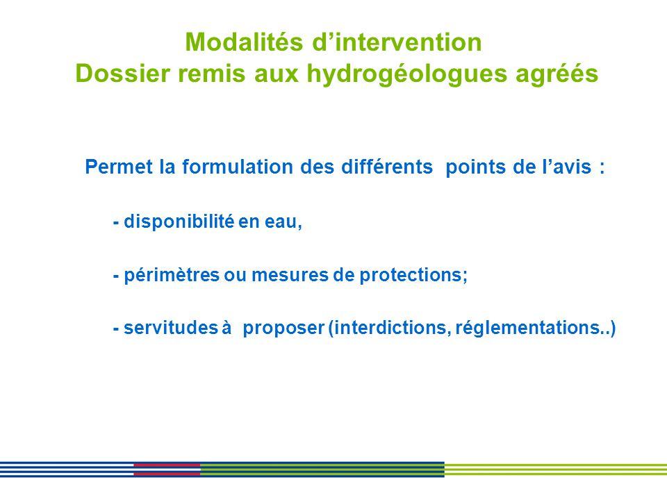 Modalités dintervention Dossier remis aux hydrogéologues agréés Permet la formulation des différents points de lavis : - disponibilité en eau, - périm