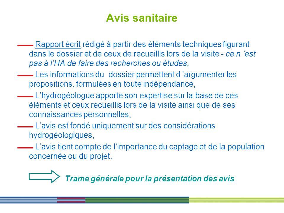 Avis sanitaire Rapport écrit rédigé à partir des éléments techniques figurant dans le dossier et de ceux de recueillis lors de la visite - ce n est pa