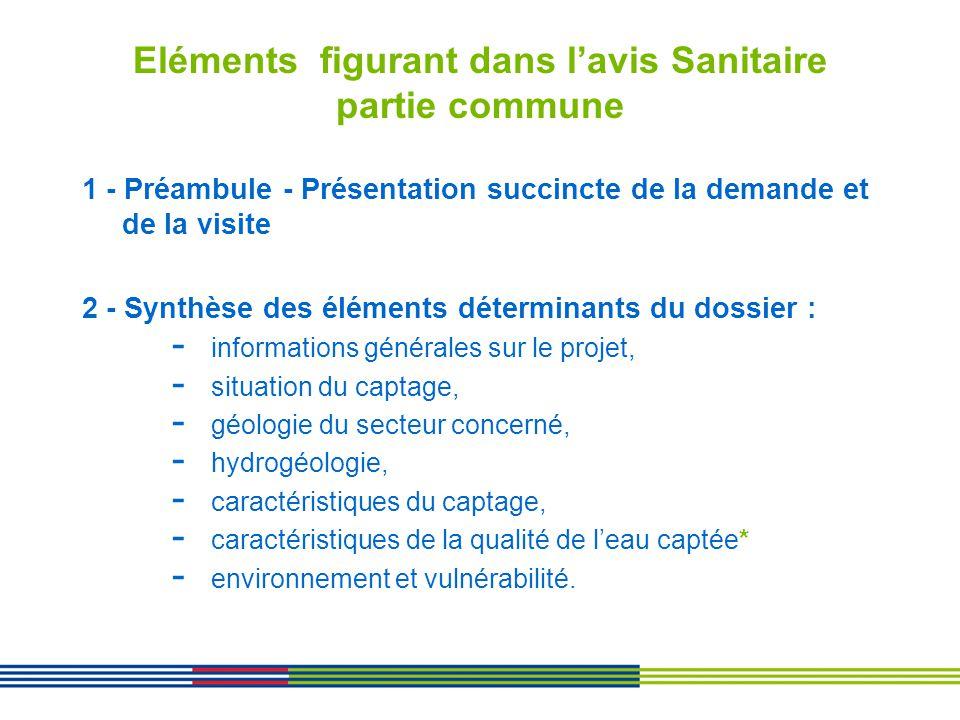 Eléments figurant dans lavis Sanitaire partie commune 1 - Préambule - Présentation succincte de la demande et de la visite 2 - Synthèse des éléments d