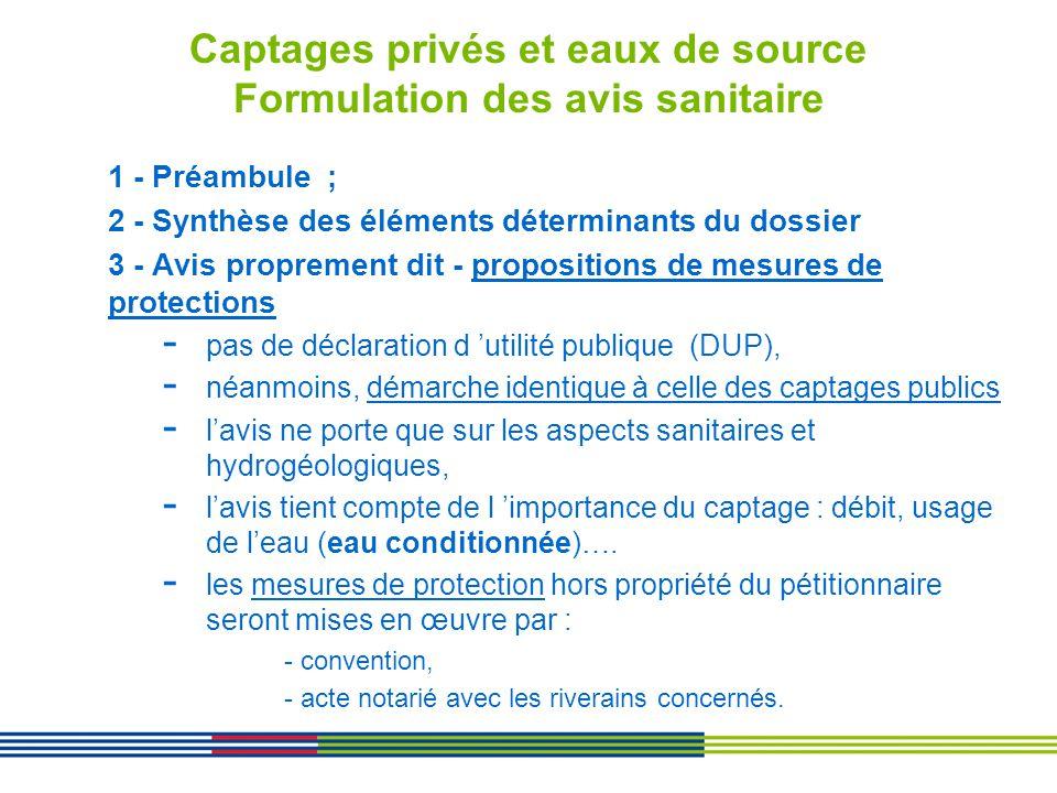 Captages privés et eaux de source Formulation des avis sanitaire 1 - Préambule ; 2 - Synthèse des éléments déterminants du dossier 3 - Avis proprement