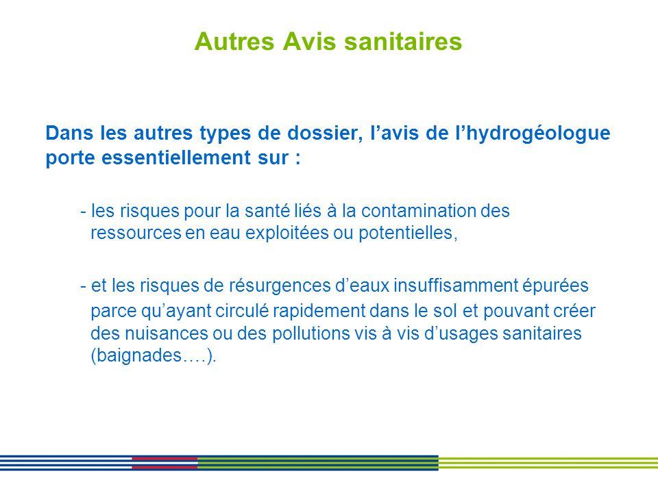 Autres Avis sanitaires Dans les autres types de dossier, lavis de lhydrogéologue porte essentiellement sur : - les risques pour la santé liés à la con