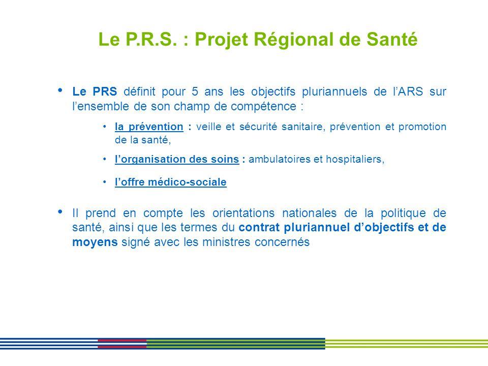 Le P.R.S. : Projet Régional de Santé Le PRS définit pour 5 ans les objectifs pluriannuels de lARS sur lensemble de son champ de compétence : la préven
