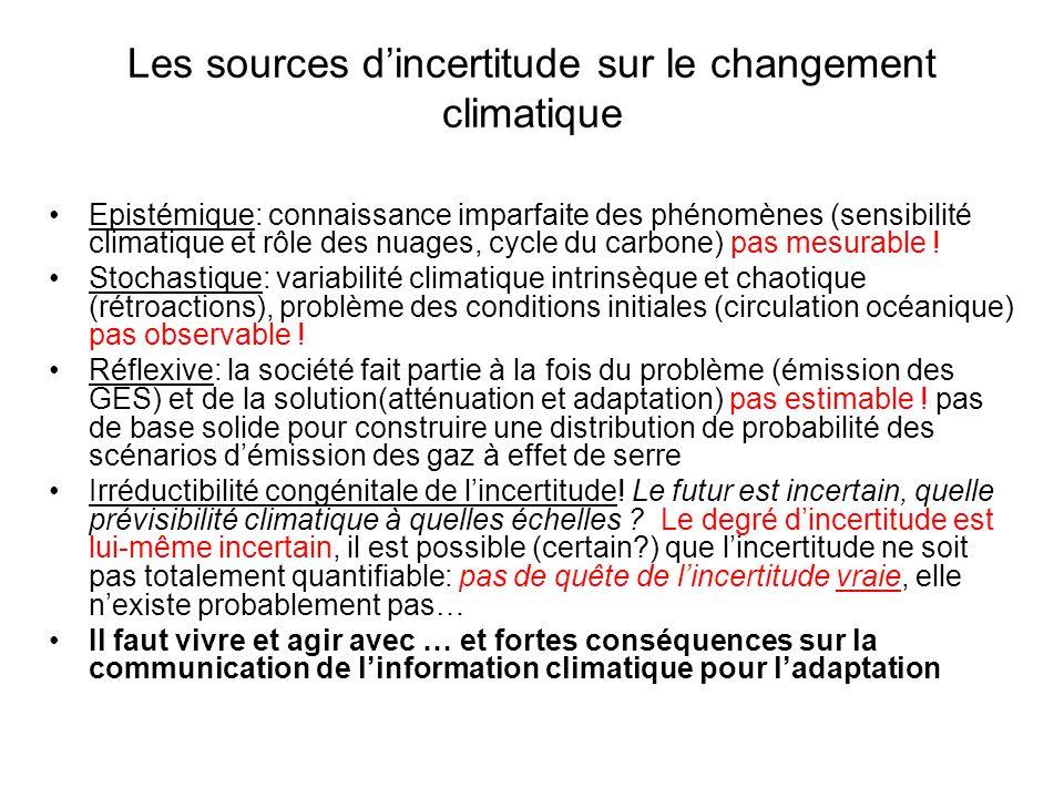 Les sources dincertitude sur le changement climatique Epistémique: connaissance imparfaite des phénomènes (sensibilité climatique et rôle des nuages, cycle du carbone) pas mesurable .