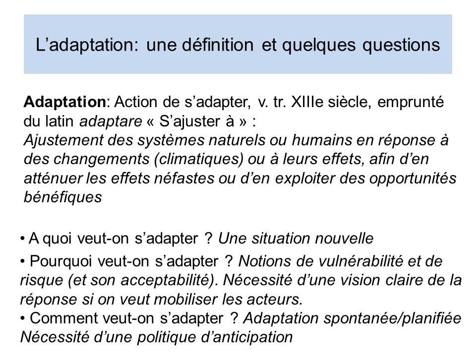Ladaptation: une définition et quelques questions A quoi veut-on sadapter .