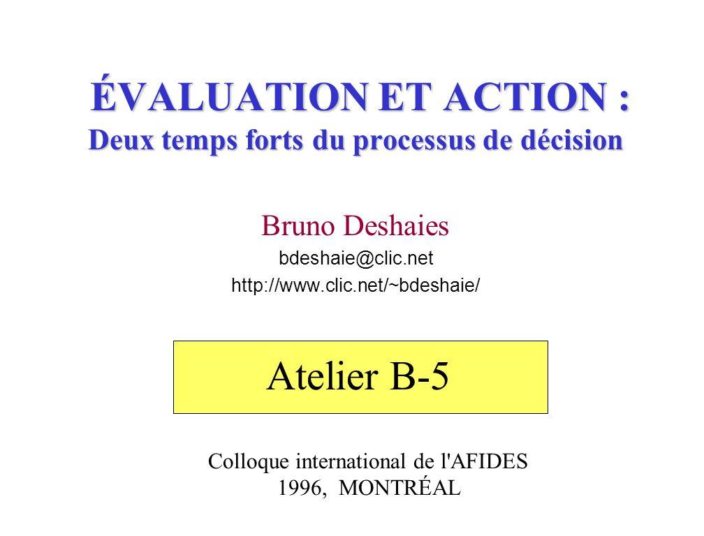 ÉVALUATION ET ACTION : Deux temps forts du processus de décision Bruno Deshaies bdeshaie@clic.net http://www.clic.net/~bdeshaie/ Colloque international de l AFIDES 1996, MONTRÉAL Atelier B-5