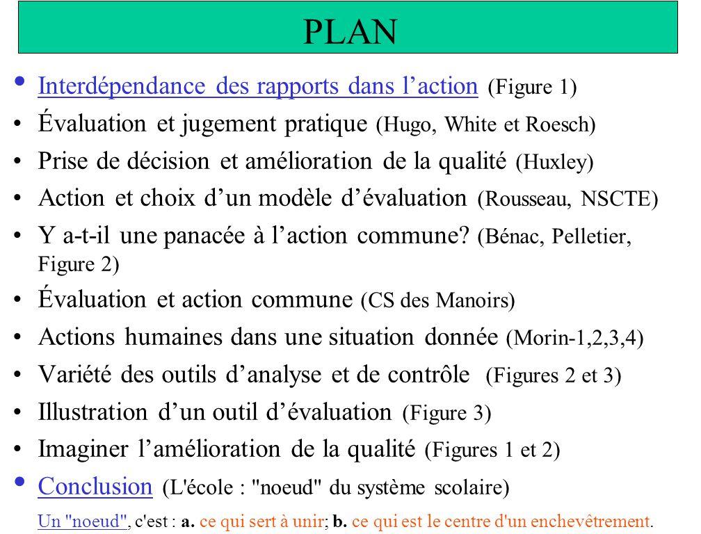 PLAN Interdépendance des rapports dans laction (Figure 1) Évaluation et jugement pratique (Hugo, White et Roesch) Prise de décision et amélioration de la qualité (Huxley) Action et choix dun modèle dévaluation (Rousseau, NSCTE) Y a-t-il une panacée à laction commune.