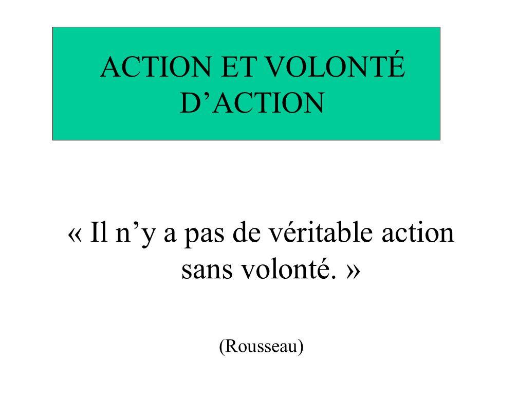 ACTION ET VOLONTÉ DACTION « Il ny a pas de véritable action sans volonté. » (Rousseau)
