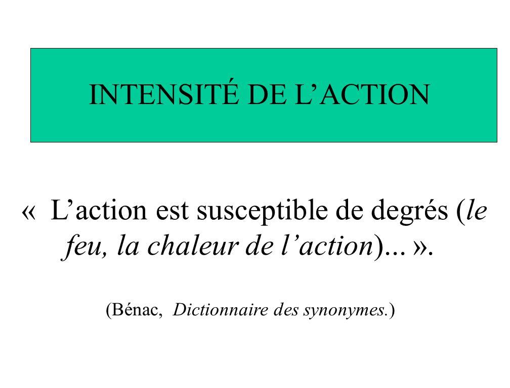 « Laction est susceptible de degrés (le feu, la chaleur de laction)... ». (Bénac, Dictionnaire des synonymes.) INTENSITÉ DE LACTION