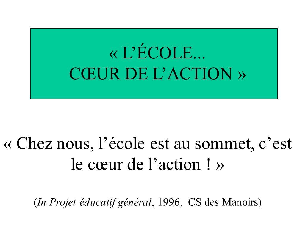 « Chez nous, lécole est au sommet, cest le cœur de laction ! » (In Projet éducatif général, 1996, CS des Manoirs) « LÉCOLE... CŒUR DE LACTION »