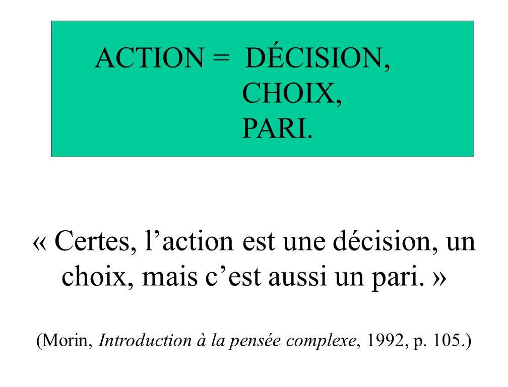 « Certes, laction est une décision, un choix, mais cest aussi un pari. » (Morin, Introduction à la pensée complexe, 1992, p. 105.) ACTION = DÉCISION,