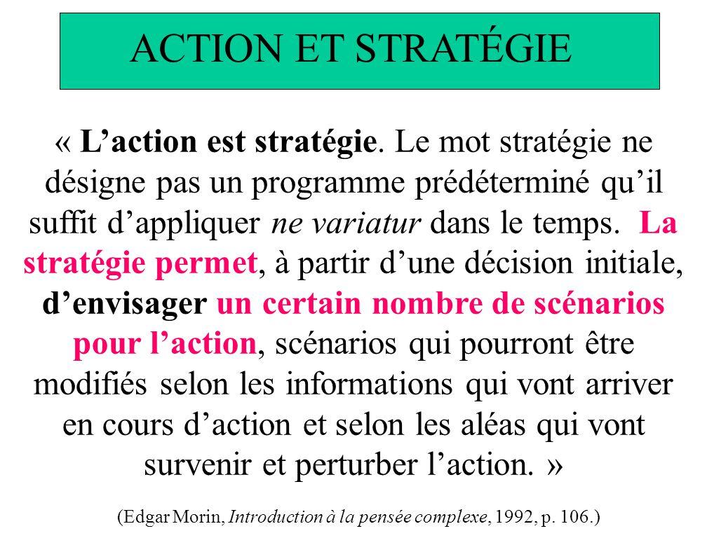 « Laction est stratégie. Le mot stratégie ne désigne pas un programme prédéterminé quil suffit dappliquer ne variatur dans le temps. La stratégie perm