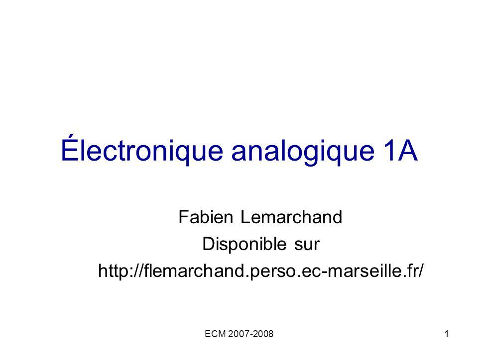 ECM 2007-20081 Électronique analogique 1A Fabien Lemarchand Disponible sur http://flemarchand.perso.ec-marseille.fr/