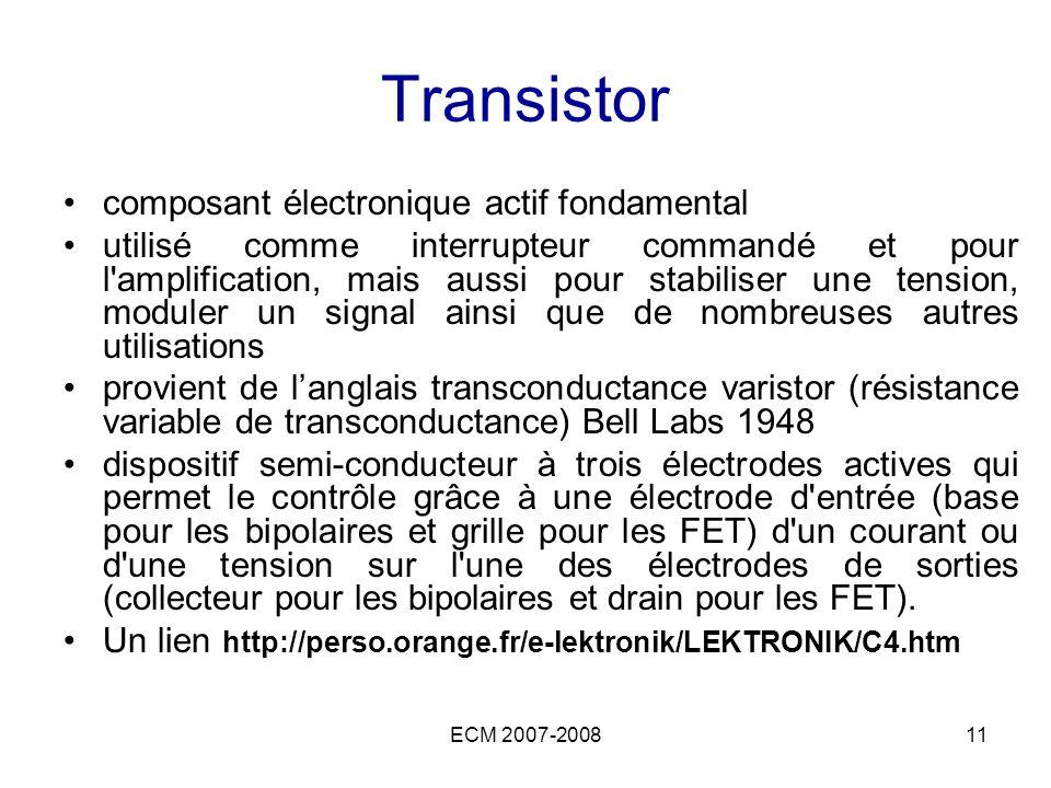 ECM 2007-200811 Transistor composant électronique actif fondamental utilisé comme interrupteur commandé et pour l'amplification, mais aussi pour stabi
