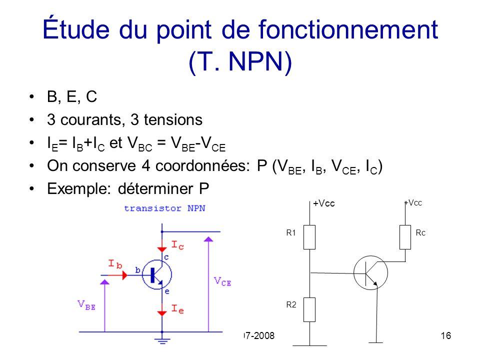 ECM 2007-200816 Étude du point de fonctionnement (T. NPN) B, E, C 3 courants, 3 tensions I E = I B +I C et V BC = V BE -V CE On conserve 4 coordonnées