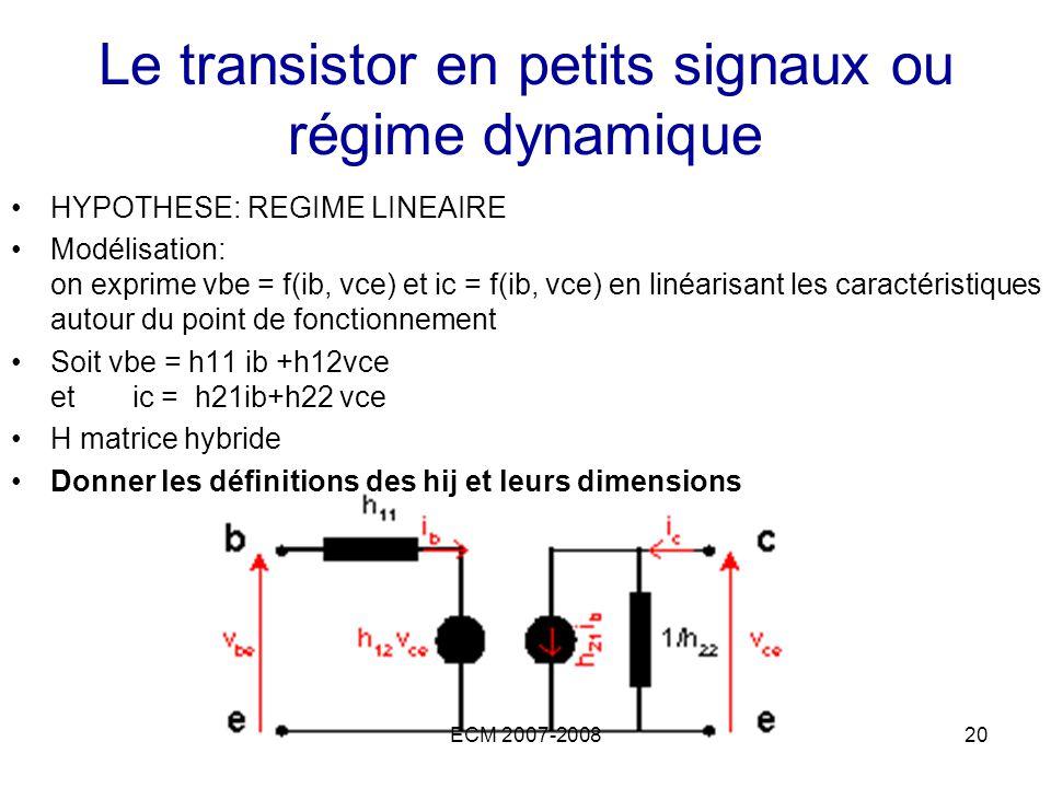 ECM 2007-200820 Le transistor en petits signaux ou régime dynamique HYPOTHESE: REGIME LINEAIRE Modélisation: on exprime vbe = f(ib, vce) et ic = f(ib,