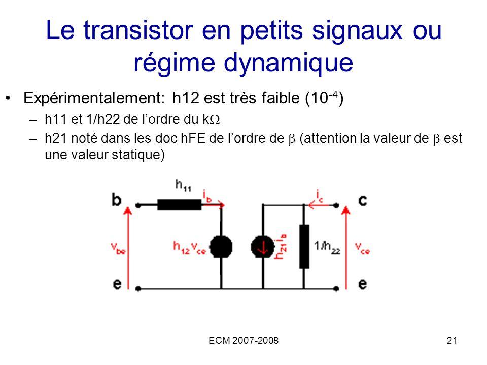 ECM 2007-200821 Le transistor en petits signaux ou régime dynamique Expérimentalement: h12 est très faible (10 -4 ) –h11 et 1/h22 de lordre du k –h21