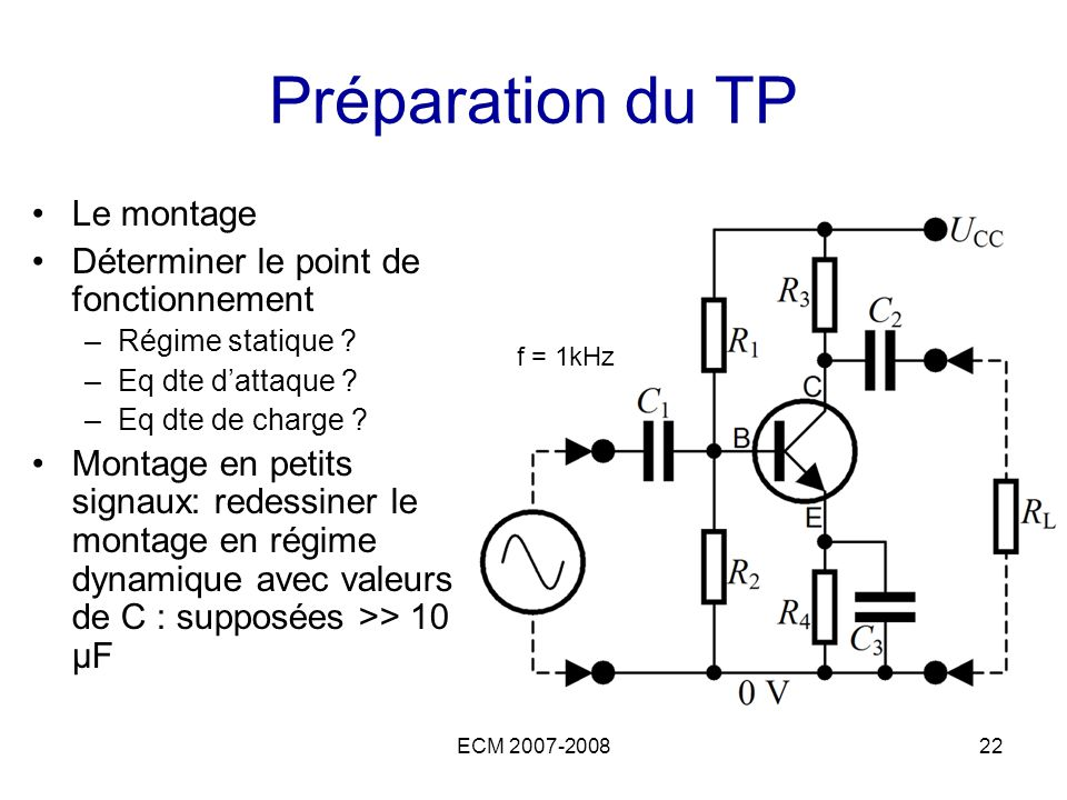 ECM 2007-200822 Préparation du TP Le montage Déterminer le point de fonctionnement –Régime statique ? –Eq dte dattaque ? –Eq dte de charge ? Montage e