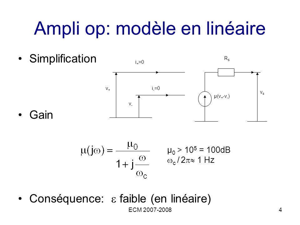 ECM 2007-20084 Ampli op: modèle en linéaire Simplification Gain Conséquence: faible (en linéaire) v+v+ v-v- i + =0 i - =0 µ(v + -v - ) RsRs vsvs µ 0 >