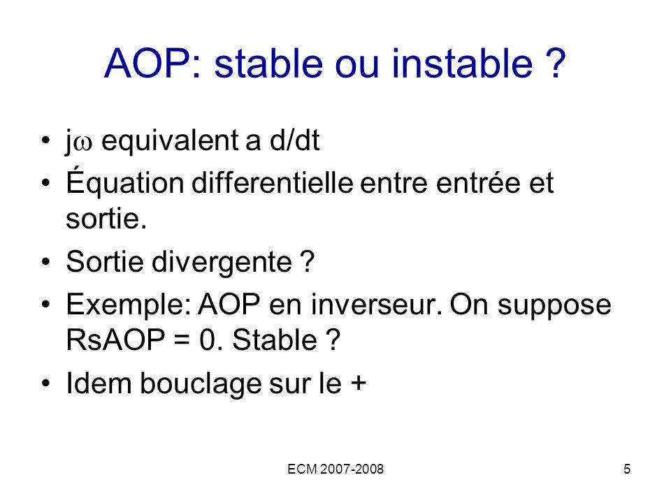 ECM 2007-20085 AOP: stable ou instable ? j equivalent a d/dt Équation differentielle entre entrée et sortie. Sortie divergente ? Exemple: AOP en inver