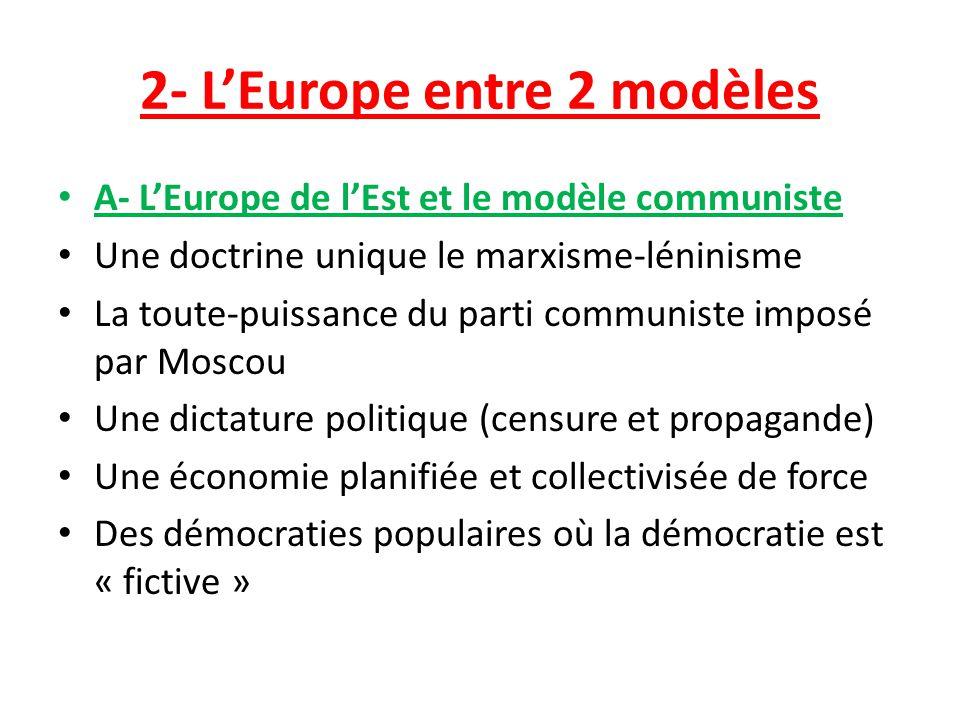 2- LEurope entre 2 modèles A- LEurope de lEst et le modèle communiste Une doctrine unique le marxisme-léninisme La toute-puissance du parti communiste
