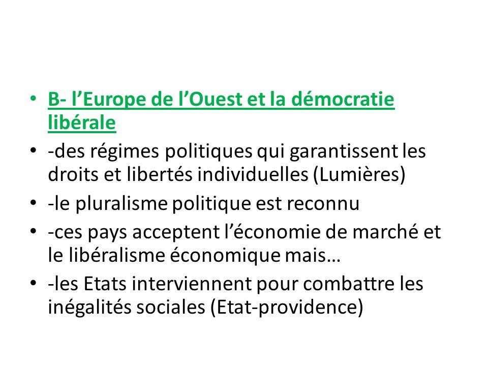B- lEurope de lOuest et la démocratie libérale -des régimes politiques qui garantissent les droits et libertés individuelles (Lumières) -le pluralisme