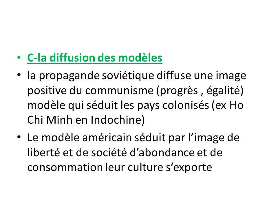 C-la diffusion des modèles la propagande soviétique diffuse une image positive du communisme (progrès, égalité) modèle qui séduit les pays colonisés (