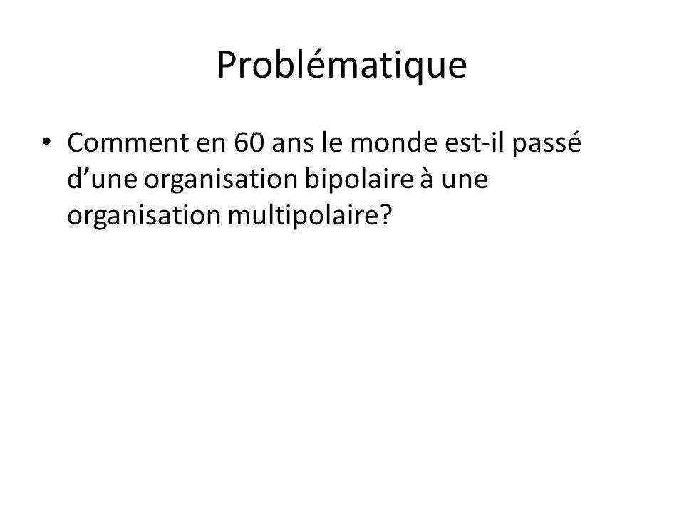 Problématique Comment en 60 ans le monde est-il passé dune organisation bipolaire à une organisation multipolaire?