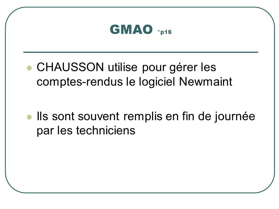 GMAO *p16 CHAUSSON utilise pour gérer les comptes-rendus le logiciel Newmaint Ils sont souvent remplis en fin de journée par les techniciens