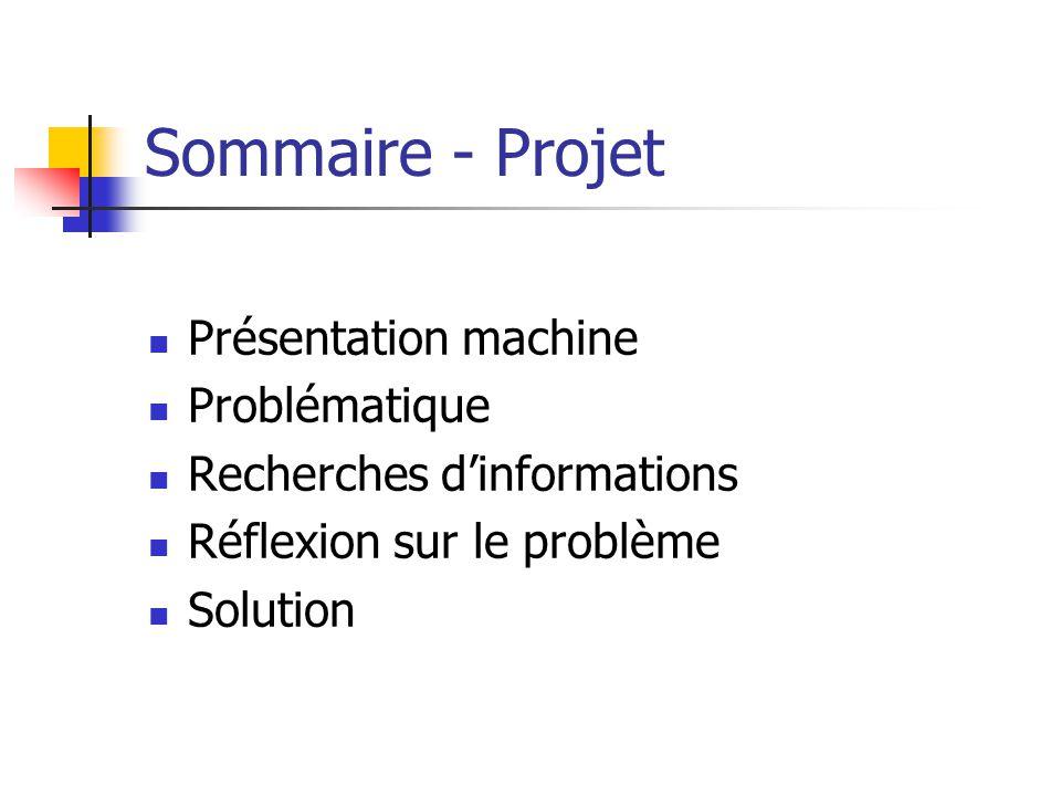 Sommaire - Projet Présentation machine Problématique Recherches dinformations Réflexion sur le problème Solution