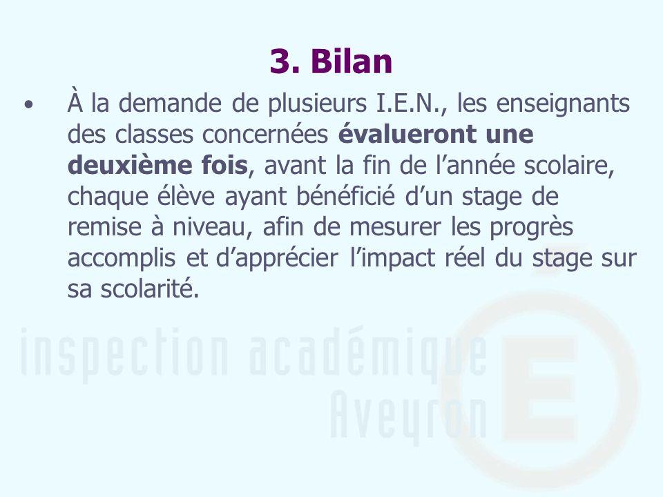 3. Bilan À la demande de plusieurs I.E.N., les enseignants des classes concernées évalueront une deuxième fois, avant la fin de lannée scolaire, chaqu