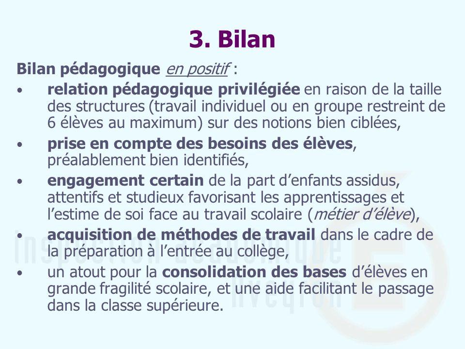 3. Bilan Bilan pédagogique en positif : relation pédagogique privilégiée en raison de la taille des structures (travail individuel ou en groupe restre