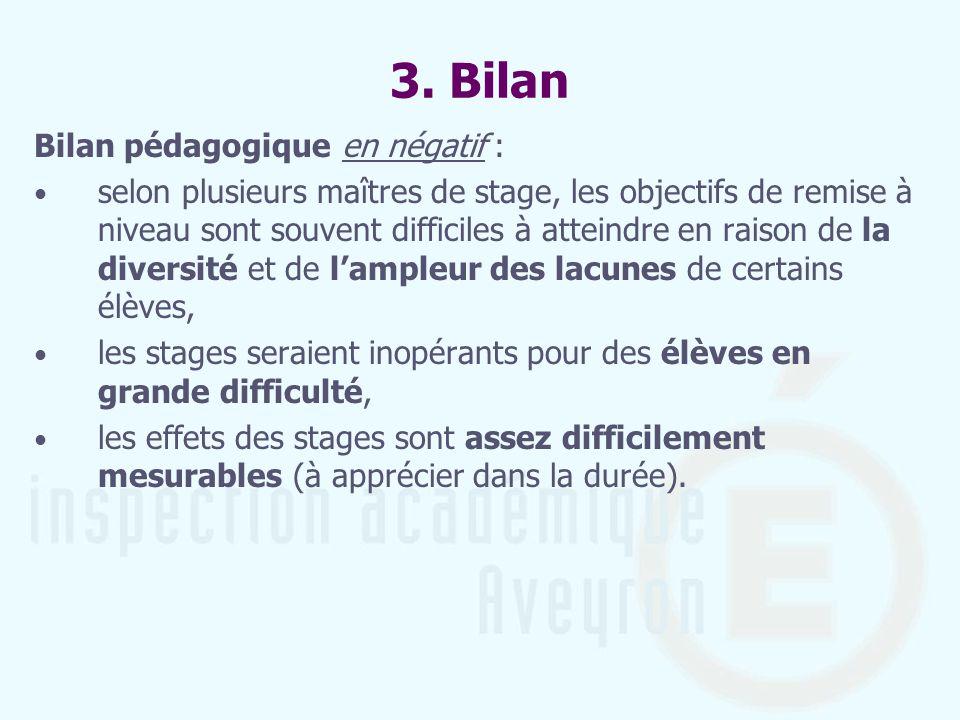 3. Bilan Bilan pédagogique en négatif : selon plusieurs maîtres de stage, les objectifs de remise à niveau sont souvent difficiles à atteindre en rais