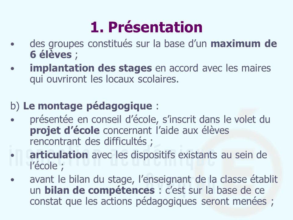 1. Présentation des groupes constitués sur la base dun maximum de 6 élèves ; implantation des stages en accord avec les maires qui ouvriront les locau