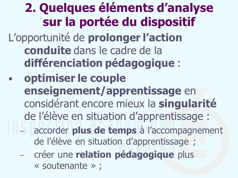 2. Quelques éléments danalyse sur la portée du dispositif Lopportunité de prolonger laction conduite dans le cadre de la différenciation pédagogique :