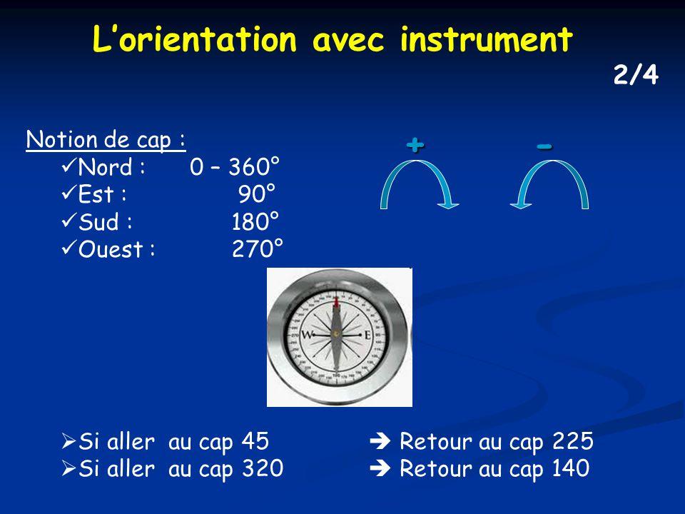 Notion de cap : Nord : 0 – 360° Est : 90° Sud :180° Ouest :270° Si aller au cap 45 Retour au cap 225 Si aller au cap 320 Retour au cap 140+- Lorientation avec instrument 2/4