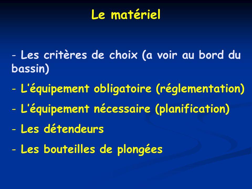 1- Gilet ou SGS (*)2- Manomètre Les plongeurs évoluant : en autonomie (*) ; au-delà de 20 m : doivent être équipés chacun de : 2- Ordinateur de plongée ou Montre + Profondimètre + Tables MN90 3- Détendeur avec octopus + un parachute par palanquée Léquipement obligatoire du niveau 2 (Code du sport) (*) sauf en piscine ou fosse de profondeur < 6 m 4O m ou au-delà de 20 m