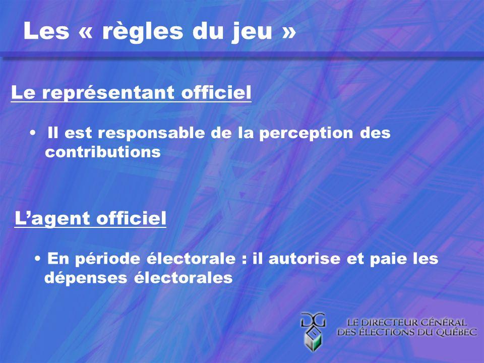 Le représentant officiel Il est responsable de la perception des contributions Lagent officiel En période électorale : il autorise et paie les dépenses électorales