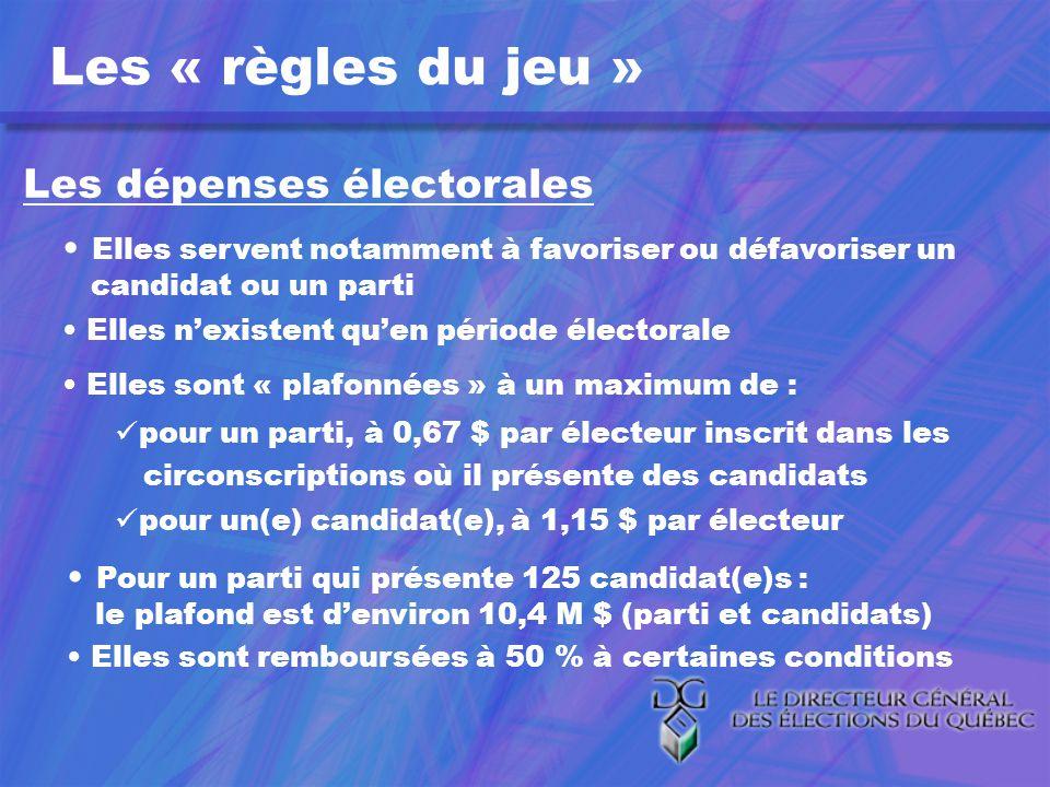 Les « règles du jeu » Les dépenses électorales Elles servent notamment à favoriser ou défavoriser un candidat ou un parti Elles nexistent quen période électorale Elles sont « plafonnées » à un maximum de : pour un parti, à 0,67 $ par électeur inscrit dans les circonscriptions où il présente des candidats pour un(e) candidat(e), à 1,15 $ par électeur Pour un parti qui présente 125 candidat(e)s : le plafond est denviron 10,4 M $ (parti et candidats) Elles sont remboursées à 50 % à certaines conditions