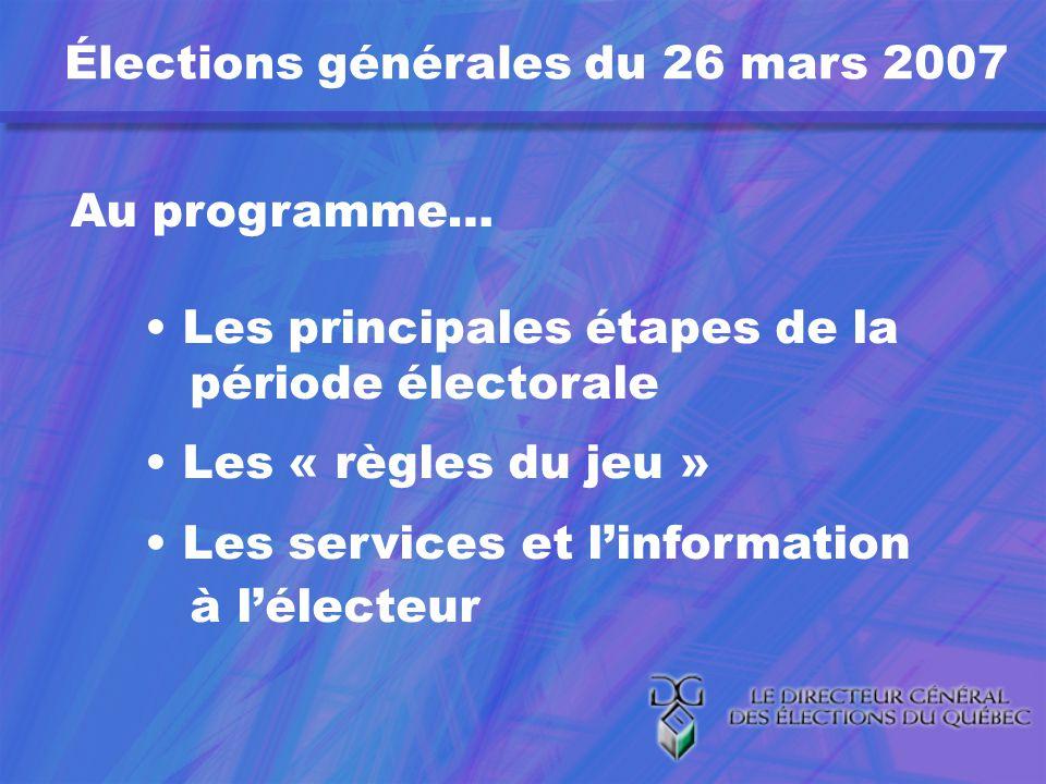 Élections générales du 26 mars 2007 Au programme… Les principales étapes de la période électorale Les « règles du jeu » Les services et linformation à lélecteur