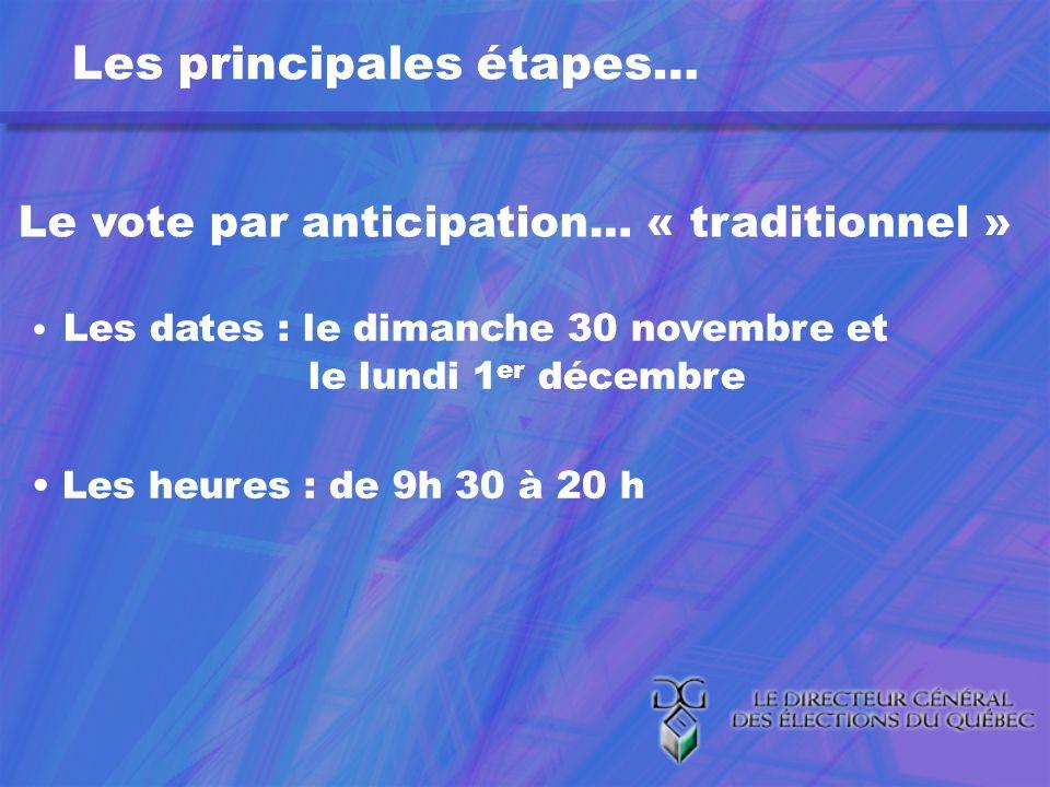 Les principales étapes… Le vote par anticipation… « traditionnel » Les dates : le dimanche 30 novembre et le lundi 1 er décembre Les heures : de 9h 30 à 20 h