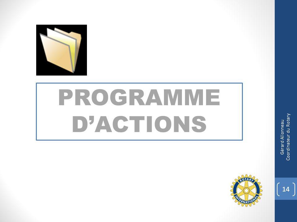 PROGRAMME DACTIONS 14 Gérard Allonneau Coordinateur du Rotary