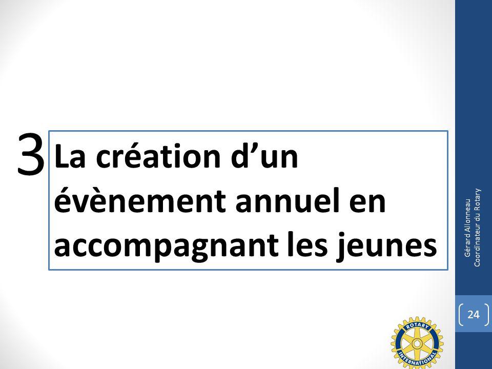 24 La création dun évènement annuel en accompagnant les jeunes 3 Gérard Allonneau Coordinateur du Rotary