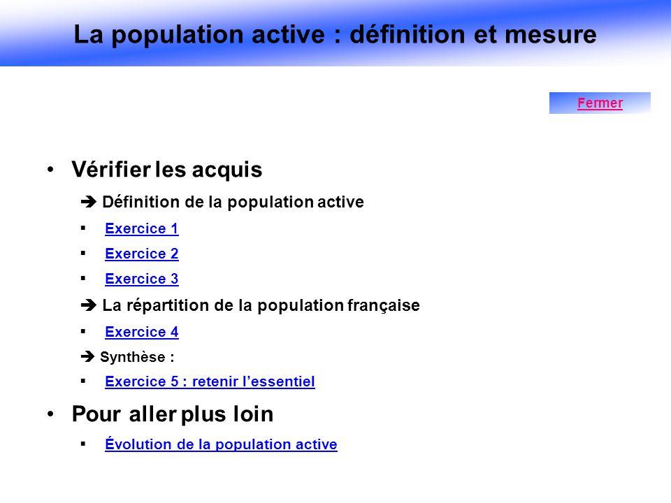 Vérifier les acquis Définition de la population active Exercice 1 Exercice 2 Exercice 3 La répartition de la population française Exercice 4 Synthèse