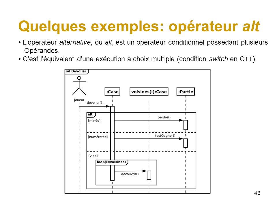 43 Quelques exemples: opérateur alt Lopérateur alternative, ou alt, est un opérateur conditionnel possédant plusieurs Opérandes. Cest léquivalent dune
